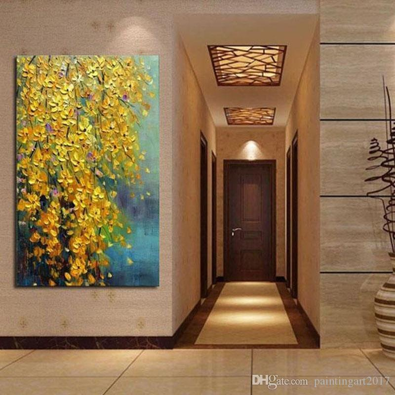 100% Hand Painted Landscape Oil Painting Yellow Flowers Decorative Wall Pictures Painting Modern Style Painting For Home Decoration
