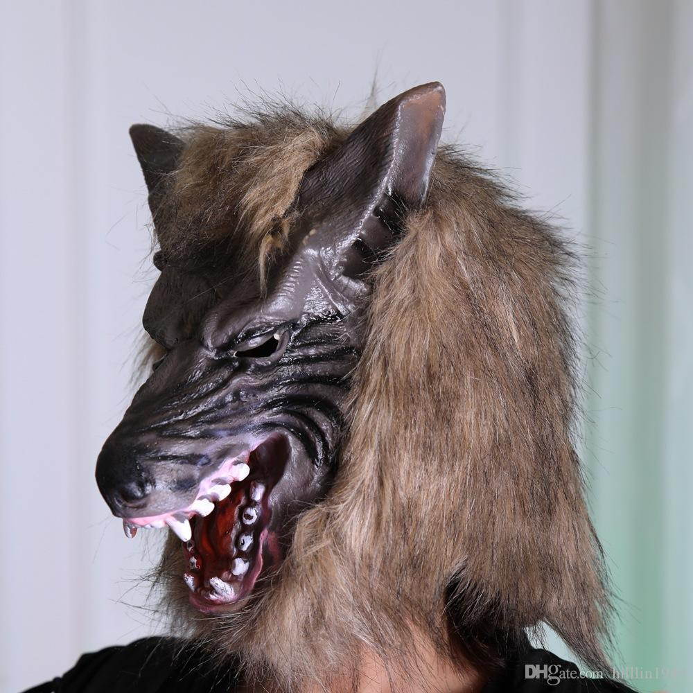 Devil Wolf Masquerade Mask Brown Halloween Accessories Carnival Spoof Unisex Scary Cosplay Full Head Party Headgear