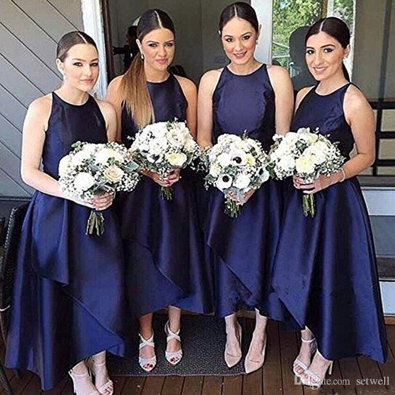 Navy Blue Country Bridesmaid Dresses Sleeveless Satin High Low A-line Simple Maid Of Honor Dress Evening Party Gowns Formal Prom Dress