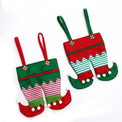 Cartoon 22 * 26cm Non Woven Stoff Christmas Elf Hosen Strumpf Candy Bag Kids X-mas Party-Dekoration Ornament Geschenk Multi New