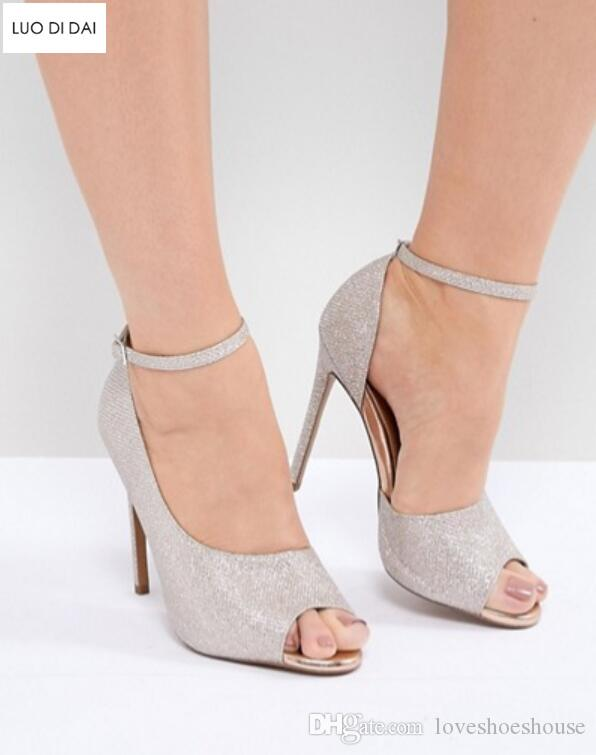 2018 mujeres brillo zapatos de fiesta sandalias de cuero con lentejuelas zapatos de boda hebilla sandalias peep toe gladiador sandalias de verano tacones altos