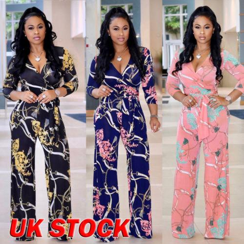 Plus Size Boho Women Floral Holiday Long Bodycon Trouser Jumpsuit Women Half Sleeve Printed V-neck Fashion Jumpsuits Clothing