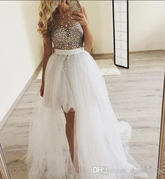 Hand Perlen 2019 Abendkleider Sheer Neck Hallo-Lo Tüll Prom Kleider Günstige Sexy Pageant Formale Party Kleider