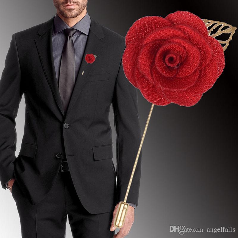 Multicolor Flower Brosche für Männer Blume Brosche Pin Business Anzug Revers Pin Hochzeit Bräutigam Zubehör Geschenk Großhandel