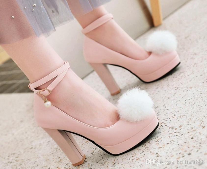 Invio gratuito 2018 Primavera e autunno scarpe singole scarpe tacco alto da tavolo impermeabile tacco grosso capelli palla da donna