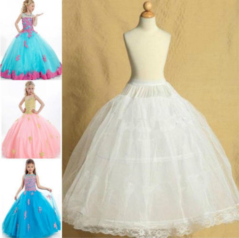 Two Hoops with Lace Edge White Adjusted Pettiskirt Wedding Flower Girl Petticoat Children Underskirt Slips Fit Kids