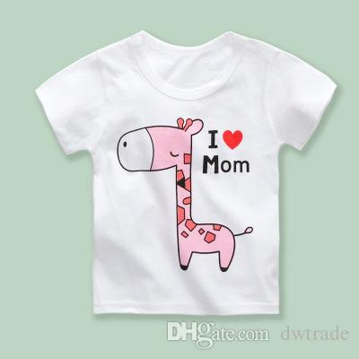 Summer 18 Designs 4 Sizes a lot Children Cotton Round Neck Cartoon Animal Printed Short Sleeve Knitting T-shirt Soft Big Kid's T-shirt 1-6T