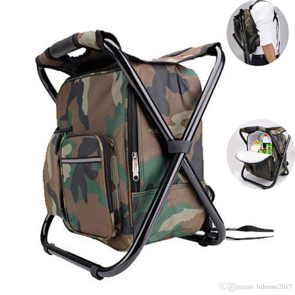 Folding Camping Chair Fishing Stool Backpack Fishing Stool Built-In Cooler bag Waterproof Outdoor Indoor Insulation Portable Thermal Bag