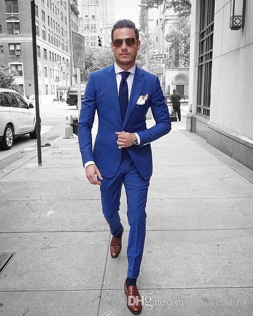 Özel Kraliyet Mavi Erkekler Takım Elbise Yaz Slim Fit Smokin 2 Parça Blazer Balo Damat Terzi Takım Elbise (Ceket + Pantolon)