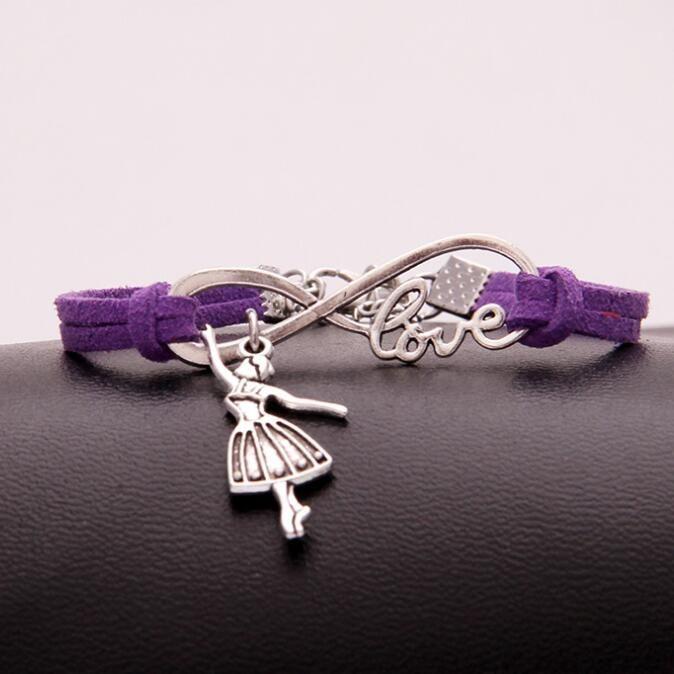 Vintage Argent LOVE Infinity Danse Fille Charmes Bracelet Bracelet Pour Hommes Femmes Mixte Couleur Velours Corde Manchette Bracelets Bijoux 20 PCS