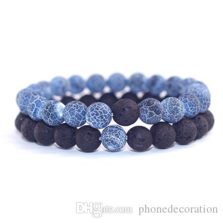 2pcs / ensemble couples bijoux distance classique bracelet bracelet pour hommes noir lave perlé bracelets correspondant cadeau personnalité yin