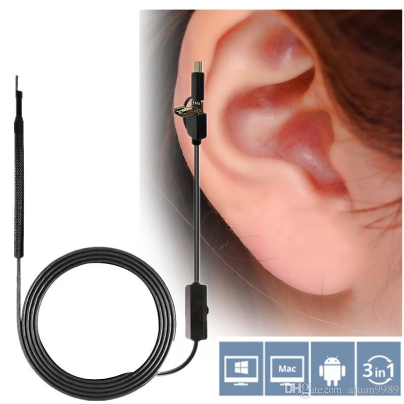Ear Cleaning Endoscópio USB HD Visual EarPick Colher de Ouvido 3 in1 5.5mm Mini Câmera Nasal Endoscópio Dental Otoscópio Câmera ferramenta