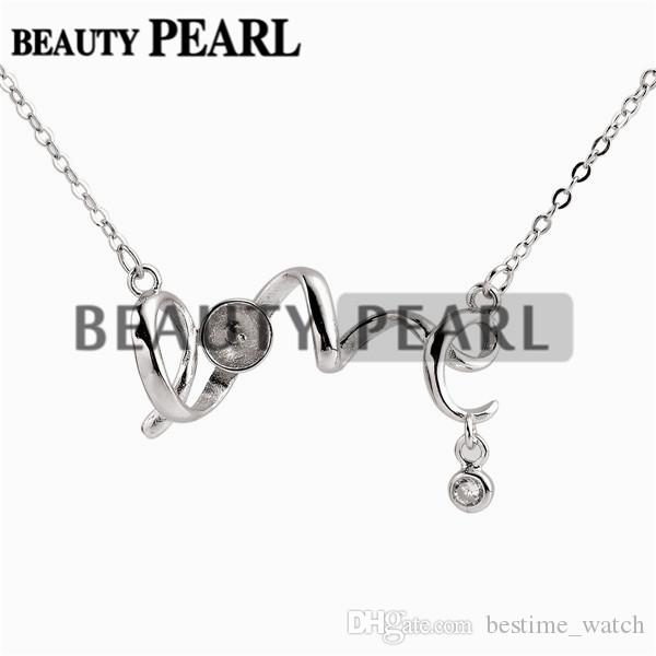 Bulk of 3 Pieces Necklace Blank for Pearls Mounting LOVE 925 Sterling Silver Link Chain Base
