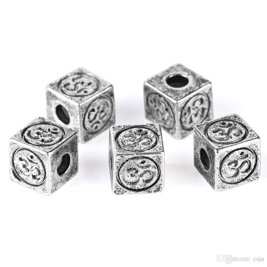 CSJA 5pcs Women Men Silver Bracelet Bangle Necklace Earrings DIY Making Handmade Yoga Jewelry Vintage Gold Cube Beads AUM OM Components F502