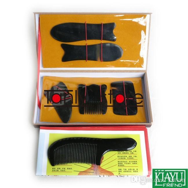 100% cuerno de búfalo! Acupuntura tradicional masajeador herramienta caja dura kit de belleza Gua Sha 5 unids / set tabla mango peine