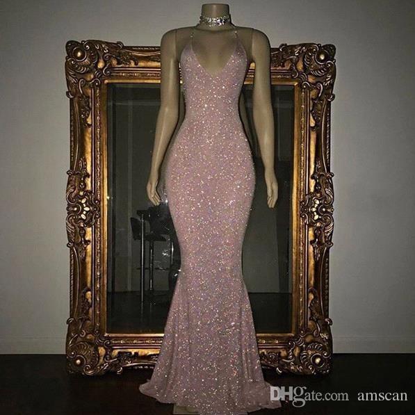 2019 Sexy бретельках Sequined Русалка Пром платья Rose Pink Длина пола Вечерние платья Дешевые специального случая Формальное платье партии
