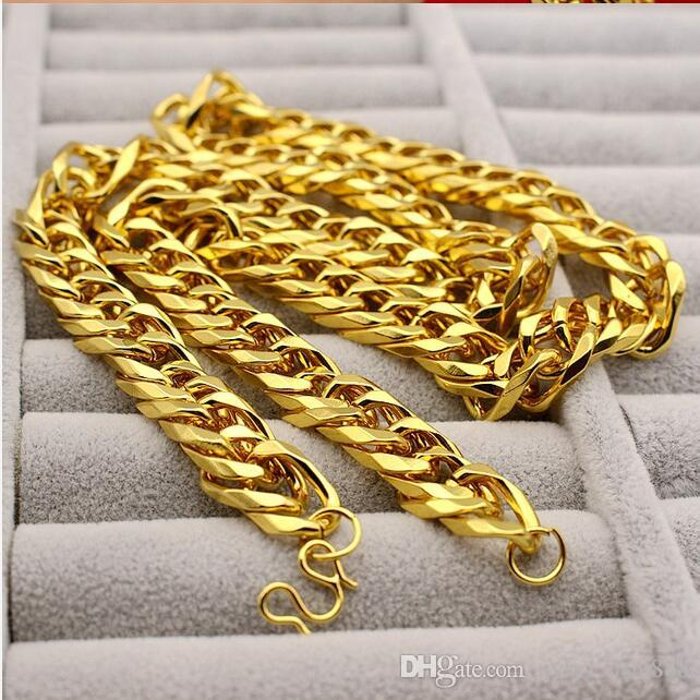 New Big Yellow Solid Gold Filled Cuban Chain Necklace Thick Men's Jewelry Women's Cool for dad boyfriend birthday gift B6
