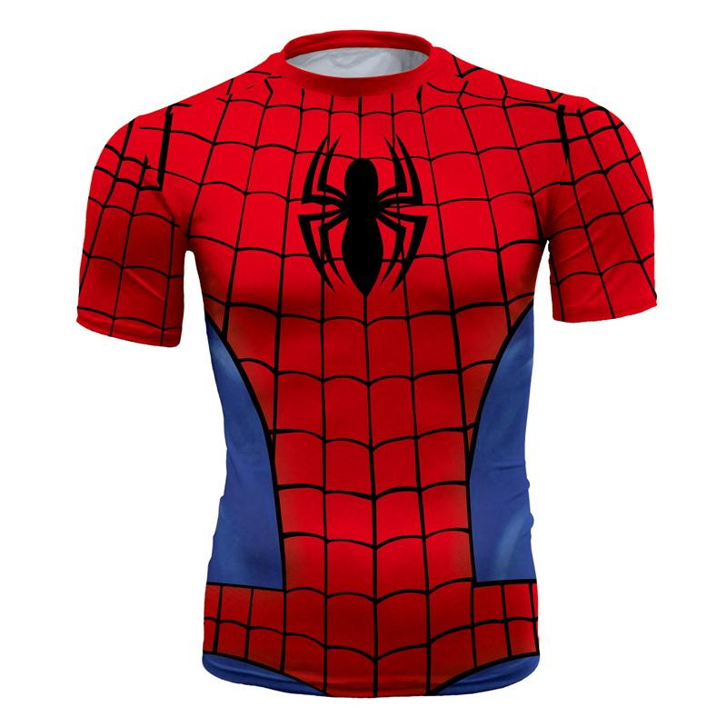 Men's fashion creativity t-shirt superman tights tee superhero Spider-Man sport short sleeves cycling fast dry basketball vest