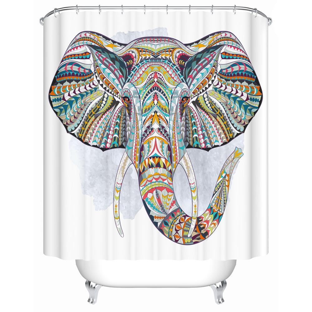 جودة عالية ملونة كبيرة الفن الفيل طباعة دش الستار 3d البوليستر النسيج ماء الحمام mildewproof الستار