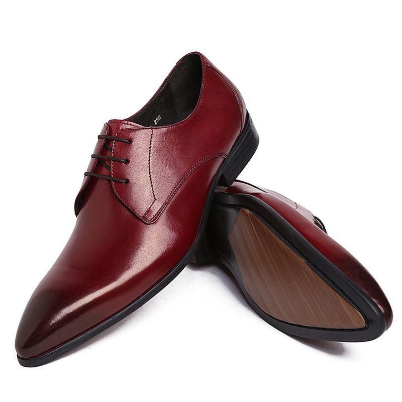 Sławny Luksusowy Mężczyzna Dress Party Business Buty Prawdziwej Skóry Formalne Oxfords Szpiczasty Toe Derby Męskie Bridal Mieszkania UH28