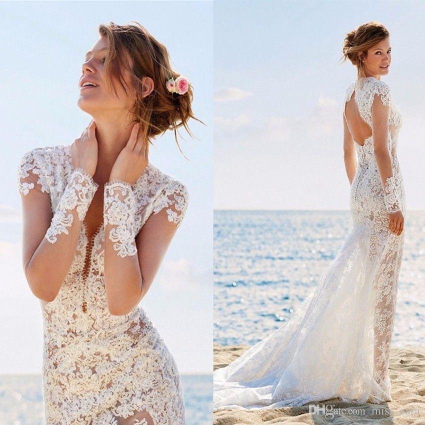 Elegante Praia da sereia vestidos de noiva manga comprida V profundo laço no pescoço apliques vestidos de noiva Custom Made Keyhole Voltar vestidos de noiva