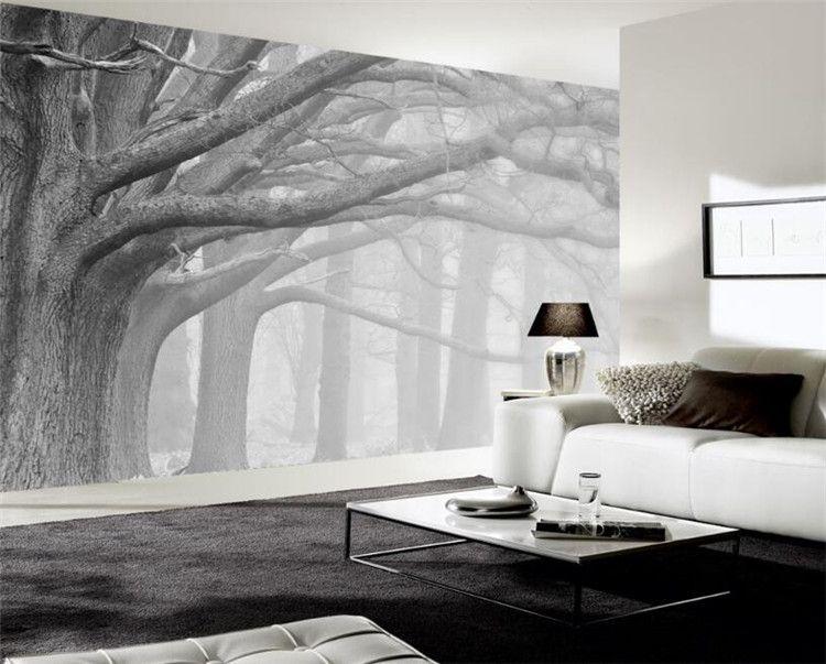 3d papel de parede sala de estar quarto murais moderno preto e branco floresta árvore arte murais de parede TV papel de parede para paredes 3 d