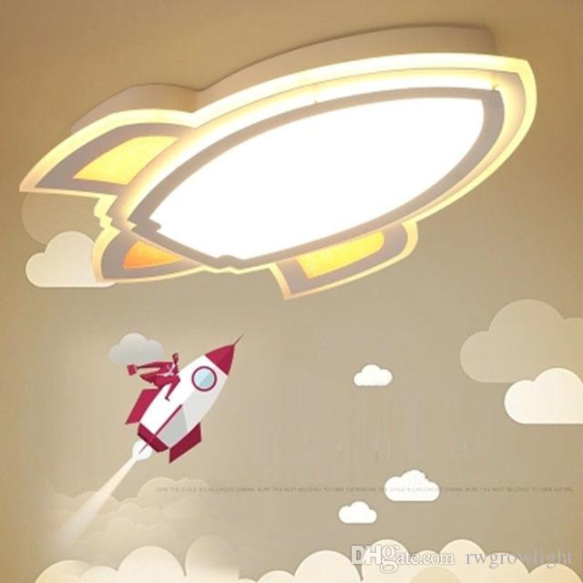 Personalidad dormitorio de la lámpara de techo de dibujos animados Rocket de los niños creativos de luz ambiental Boy luz moderna lámpara de techo LED de control remoto
