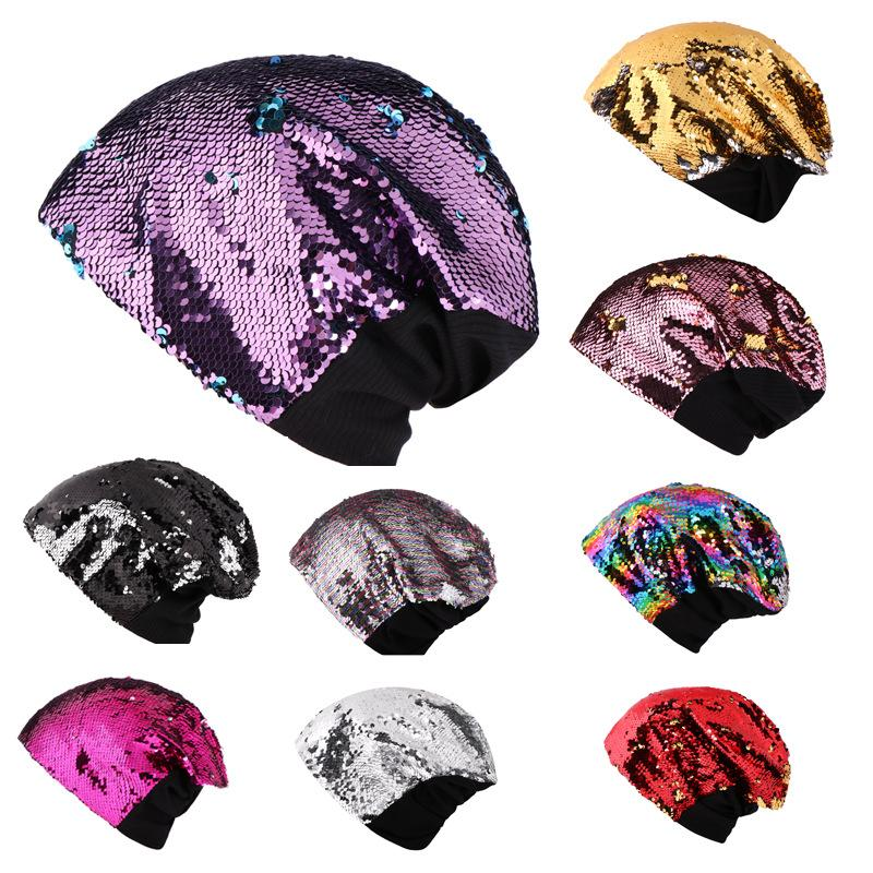 Mermaid Sequins Knitted Hat Woman Man Ladies Stage Show Leisure Beanie Keep Warm Ear Muffs Cap Pure Color Fashion 13js bb