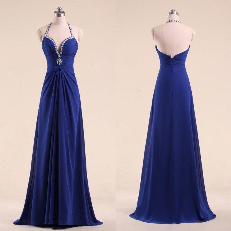 Barato Real Azul Vestidos de Baile 2018 Modelo Frisado Halter Decote Ruched Corpete Uma Linha Pano De Trem Chiffon Vestidos de festa largos