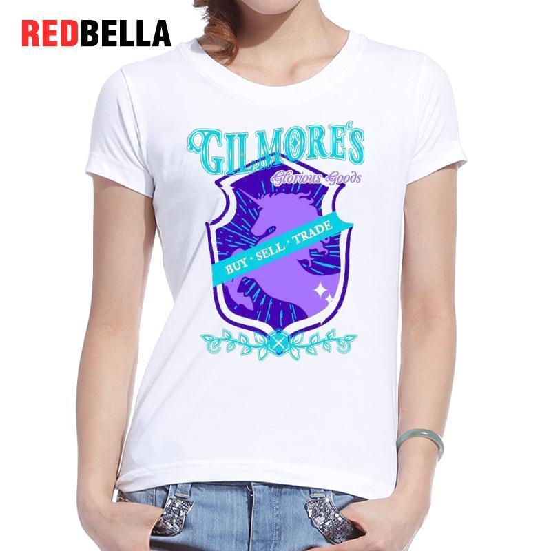 T-shirt da donna Redbella Harajuku T-shirt con stampa unicorno modello Donna Pantaloni a vita bassa Moda vintage Disegno T-shirt in cotone a manica corta Top freddi
