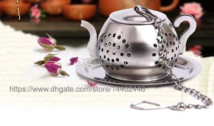 200pcs 304 Stainless Steel 3.8cm Round Teapot Shape Loose Leaf Herb Tea Pot Infuser Strainer Filter with a tray