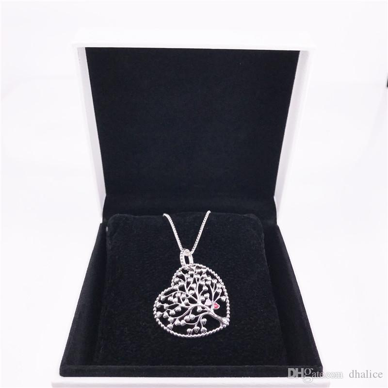 Tree of Love Necklace Authentic 925 Sterling Silver with clear Cubic zirconia DIY Fine Jewelry Neclklace 396582ENMX necklace