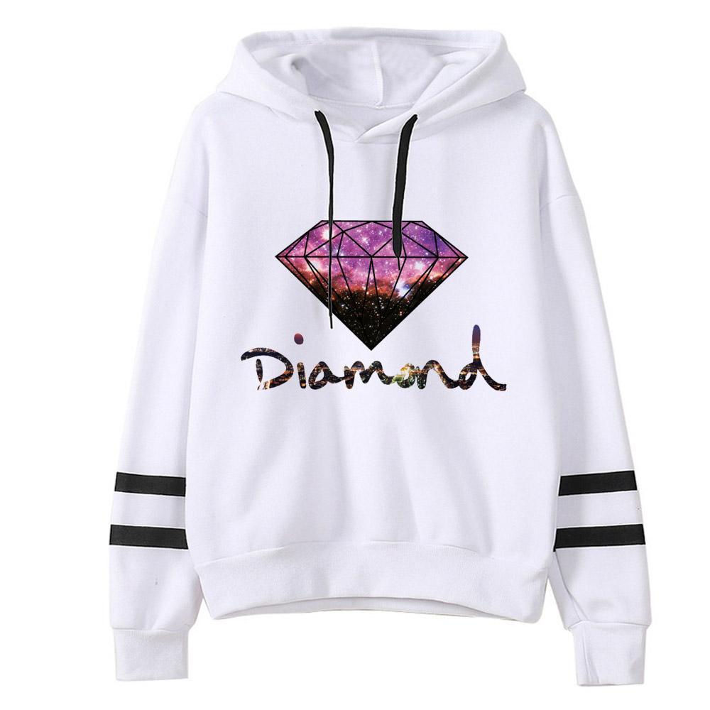 Harajuku Hip Hop Tops Streetwear Felpa con cappuccio con maniche lunghe felpata con stampa di colore coreano Diamond Felpe con cappuccio oversize da donna