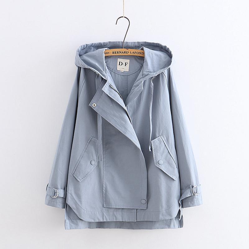 Japonês cor sólida solta blusão casaco com capuz mori menina 2018 outono