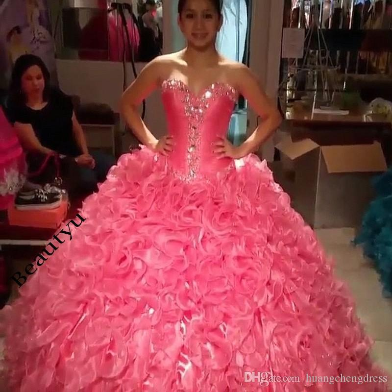 Hot Pink Puffy Quince Dresses