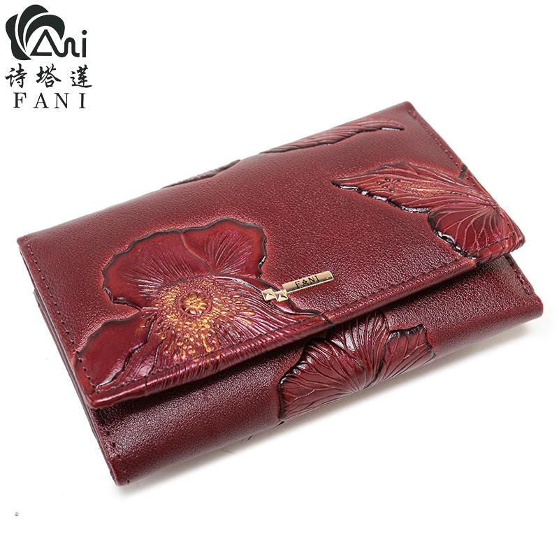 FANI Marke Frauen Geldbörsen Mode Blumendruck Echtem Leder Brieftaschen Drei Folding multifunktions Haspe Einfache Frauen Geldbörse