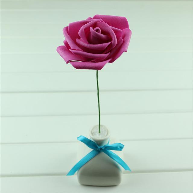 100pcs DIY Düğün Buket Çiçek Ev Sahte Gül Çiçek Dekor 6cm ile Çiçek El Yapımı Parti Festivali Düğün Köpük Güller Çiçek