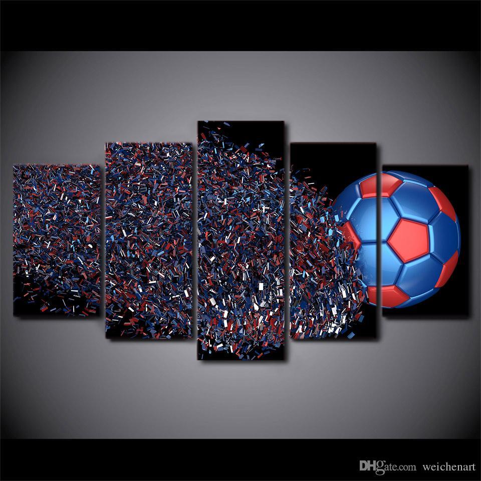 Salon Modern Wall Art Canvas Resim İçin Özet Futbol Duvar Resimleri Boyama 5 Adet Tuval Sanat Futbol