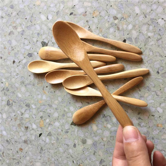 100 조각 작은 대나무 숟가락 13.5cm 카페 커피에 대 한 내구성이 자연 스푼 차 꿀 설탕 소금 잼 겨자 아이스크림 손수 도기