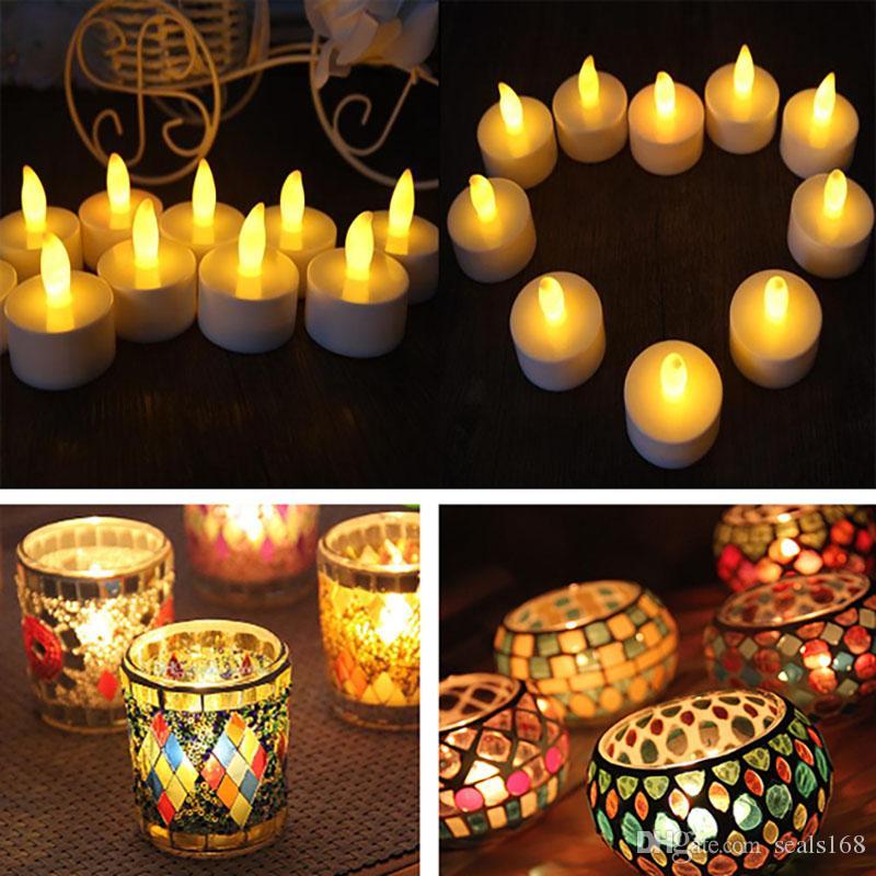 Velas de té led candelabro de mosaico tealight sin llama con pilas operado para el banquete de boda de navidad cumpleaños decoración del hogar hh7-359