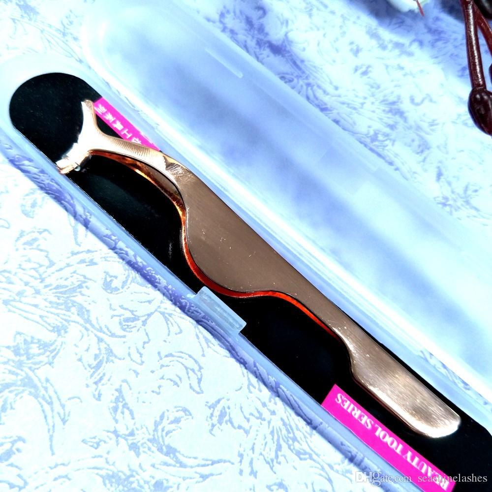 Seashine falsas pestañas postizas Pinza de acero inoxidable Clip Aplicador de pestañas pestañas rímel Stocking Stuffers Herramientas de eliminación de maquillaje