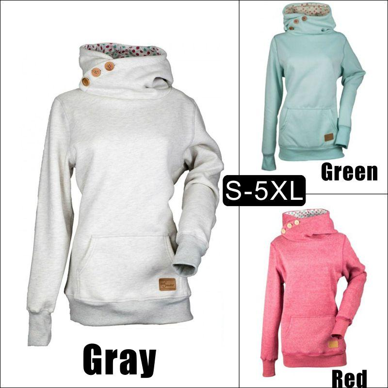 2020 Solid Color Long Sleeve Three Buttons Three Dimensional Pocket Hooded Sweater Womens Top 8 Yards From Surmax1, $29.55 | DHgate.Com
