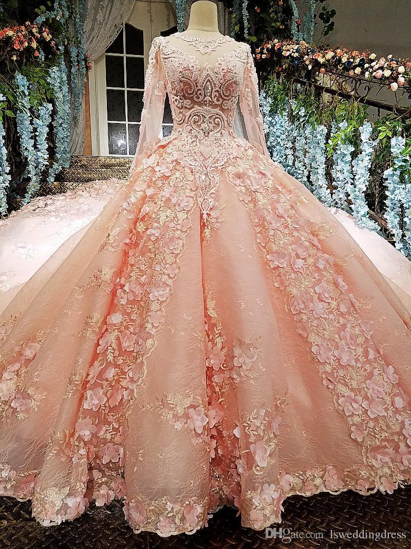 Adorável vestido de casamento rosa 2019 mais novo projeto com zíper de volta 3d flores organza vestido de baile vestidos de casamento longos à venda vestido de festa de casamento longo