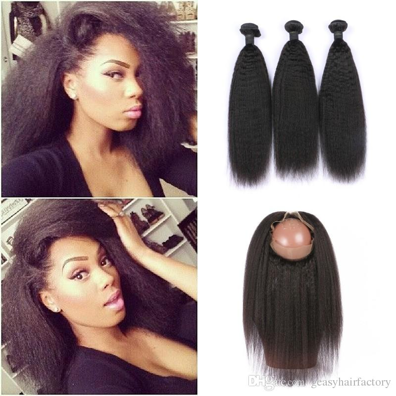 Indian Virgin Kinky Straight Human Hair Weave With 360 Frontal Closure Bleached Knots Natural Color 3 Bundles With Lace Frontal LaurieJ Hair