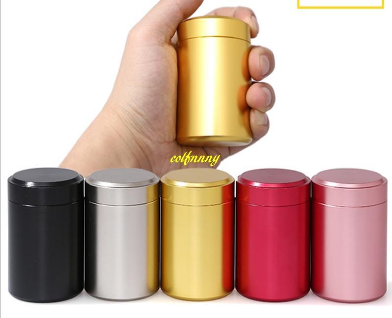 10pcs/lot Free shipping 6.5*4.5cm Mini Teabox Titanium alloy Tea box Travel Outdoor Sealed Jar Cans 8g tea Tin storage boxes