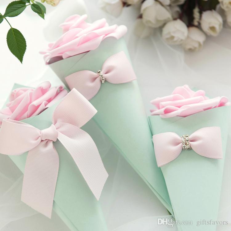 Cone Shaped Papier Gunst Halter Schokolade Boxen für Hochzeit Geburtstag Brautparty Partygäste 50pcs viel Großhandel