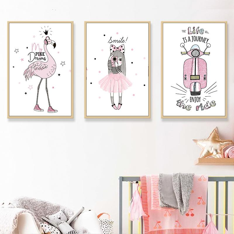 Modern Minimalist Kawaii Pink Cartoon Girl Flamingo Children Room Canvas art Painting Poster A4 Picture with Wooden Frame