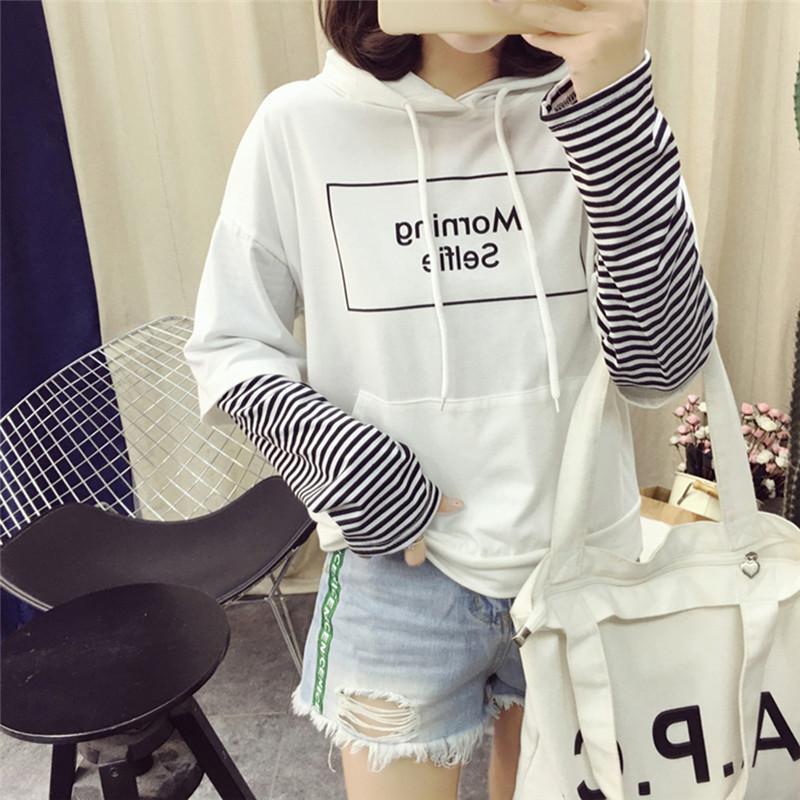 1PCS Harajuku Autumn Patchwork Hoodie Sweatshirt Hooded Long Sleeve Crop Ladies Pullover Tops White Black