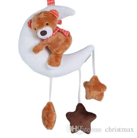 Moon Star Cotton Stuffed Bear Baby Toys Crib Mobile for Kids Appease Toy Sleeping Montessori Musical Toys Plush Animals T0129