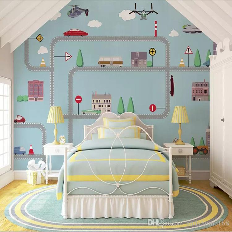 3d custom environmental children's room paintings boy blue bedroom background decorative mural wall covering racing Rhapsody